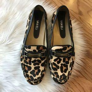 Vaneli slip on flats loafers calf hair leopard
